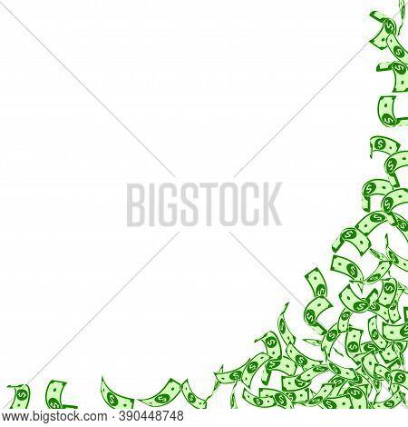 American Dollar Notes Falling. Small Usd Bills On White Background. Usa Money. Classy Vector Illustr