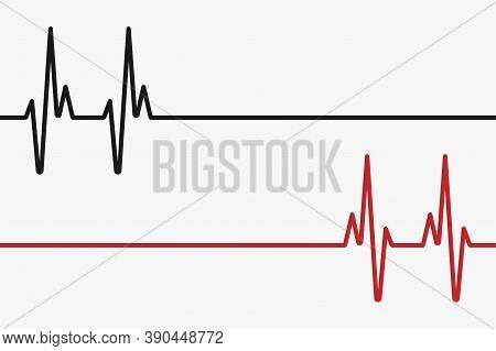 Heartbeat Red And Black Line. Palpitation. Red Heartbeat, Line Of Life And Black Heartbeat, Line Of
