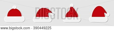 Santa Hat. Santa Hat Collection, Isolated. Hats Vector Icons In Flat Design. Vector Illustration