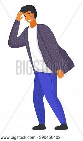 Young Handsome Smiling Man In Casual Modern Clothes Like Shirt And Pants. Guy Leaned Forward A Littl