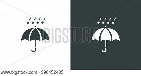Umbrella, Hail And Rain. Isolated Icon On Black And White Background. Weather Glyph Vector Illustrat