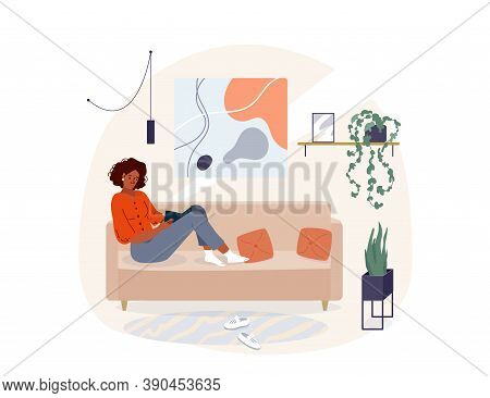 Black Young Woman Reading Book Vector Background. Relaxed African Girl Sitting On The Sofa And Read,