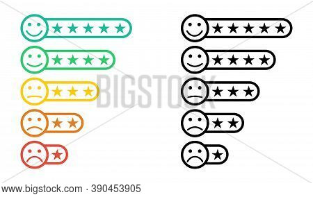 Emoticons. Star Rating. Emoji With Star Rating. Feedback Emoticon. Rating Scale With Smiles Represen