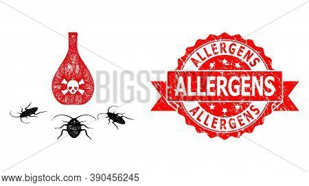 Net Cockroach Poison Icon, And Allergens Dirty Ribbon Stamp Seal. Red Seal Has Allergens Text Inside