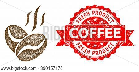 Wire Frame Coffee Beans Aroma Icon, And Fresh Product Coffee Dirty Ribbon Seal. Red Seal Has Fresh P