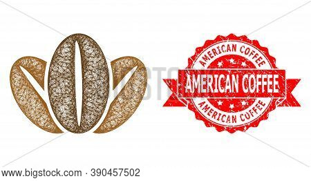 Wire Frame Coffee Beans Icon, And American Coffee Scratched Ribbon Stamp. Red Stamp Contains America