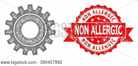 Network Cog Icon, And Non Allergic Rubber Ribbon Seal Imitation. Red Seal Includes Non Allergic Titl