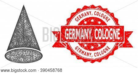 Wire Frame Cone Figure Icon, And Germany, Cologne Scratched Ribbon Seal Print. Red Stamp Seal Includ