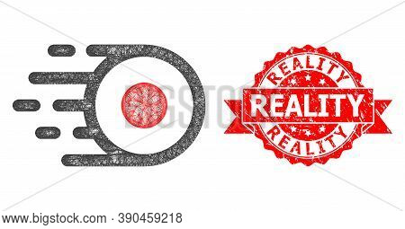 Net Core Flight Icon, And Reality Textured Ribbon Stamp Seal. Red Stamp Seal Includes Reality Tag In