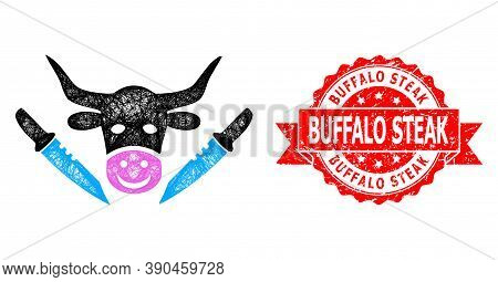 Wire Frame Cow Butchery Icon, And Buffalo Steak Dirty Ribbon Watermark. Red Stamp Seal Contains Buff