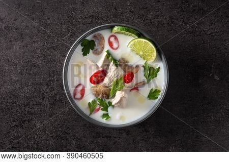 Traditional Thai Food Tom Kha Gai In Bowl On Black Background. Top View