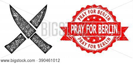 Wire Frame Crossing Knives Icon, And Pray For Berlin Rubber Ribbon Watermark. Red Stamp Has Pray For