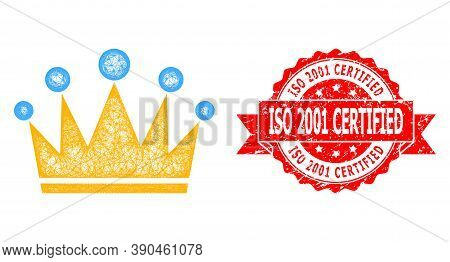 Net Crown Icon, And Iso 2001 Certified Scratched Ribbon Stamp. Red Stamp Contains Iso 2001 Certified
