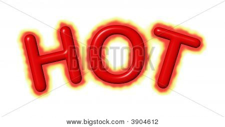 The word HOT emplazing with fire isolated on white poster