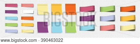 Post Note Stickers. Sticky Notes. Stickers With Sheets And Labels, Isolated. Collection Realistic La