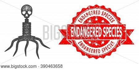 Network Death Virus Icon, And Endangered Species Grunge Ribbon Stamp Seal. Red Seal Has Endangered S