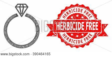 Net Diamond Ring Icon, And Herbicide Free Rubber Ribbon Stamp Seal. Red Stamp Seal Contains Herbicid