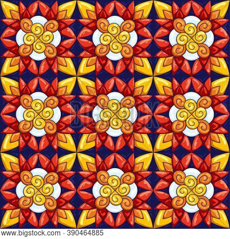 Ceramic Tile Pattern. Typical Ornate Portuguese Or Italian Ceramic Tiles. Decorative Abstract Backgr