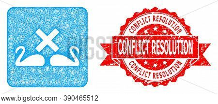 Network Divorce Swans Icon, And Conflict Resolution Dirty Ribbon Stamp Seal. Red Stamp Contains Conf