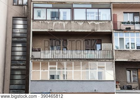 Balconies And Terraces Of Communist Housing Buildings, In A Decay And Diplapidated Condition In Belg