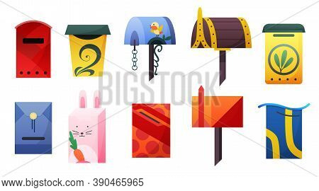 Collection Of Mailbox. Cartoon Vector Mail Box. Post Or Postal Letterbox Of American Or European Mai