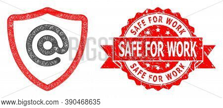 Net Email Address Protection Icon, And Safe For Work Rubber Ribbon Stamp. Red Stamp Includes Safe Fo