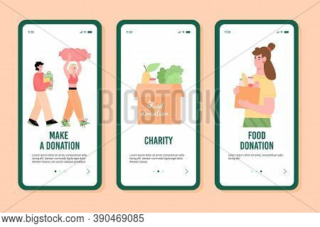 Onboarding Screens Set For Charity Foundations Organising Event Of Food Donation, Flat Cartoon Vecto