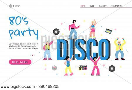 80s Retro Disco Party With Dancing People. Men And Women In Fashion Clothes In The Eighties. Vector