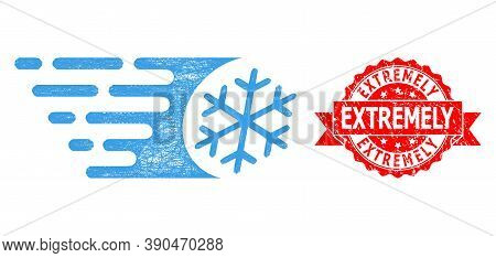 Net Fast Freezing Icon, And Extremely Rubber Ribbon Stamp Seal. Red Stamp Seal Contains Extremely Ti