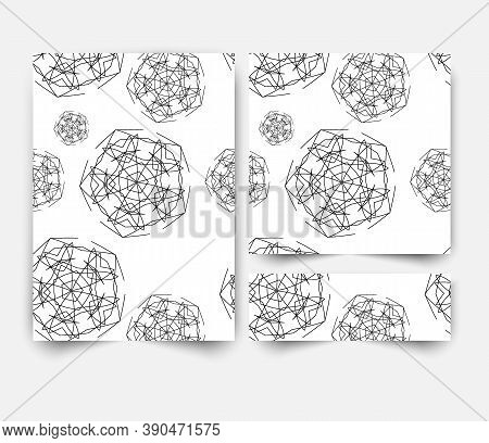 Set Of White Banners With Gray Circular Pattern, Greeting Card Design. Elegant Pattern. Painted Invi