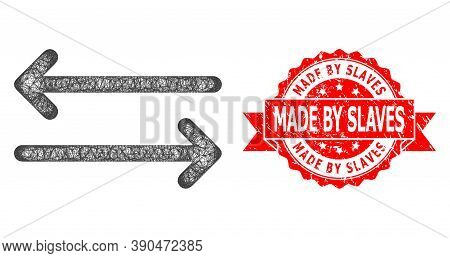 Net Flip Arrows Horizontally Icon, And Made By Slaves Unclean Ribbon Stamp Seal. Red Stamp Seal Incl