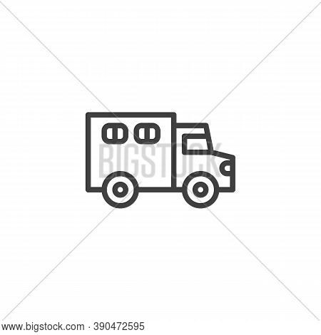 Police Truck Line Icon. Linear Style Sign For Mobile Concept And Web Design. Paddy Wagon Outline Vec