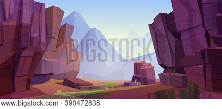 Mountain Landscape With Canyon, Red Dry Ground And Green Grass On Old Riverbed. Vector Cartoon Illus