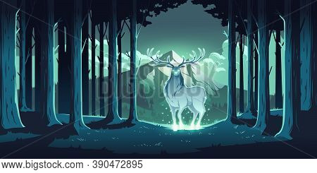 Magic Deer In Night Forest, Mystical Stag With Glowing Eyes And Body, Soul Of Nature, Wood Protector