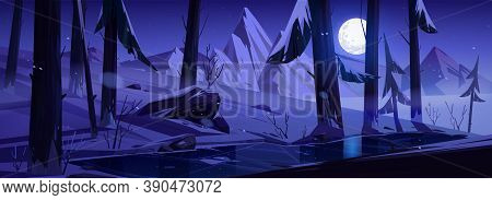 Winter Landscape With Mountains, Forest And Moon In Sky At Night. Vector Cartoon Illustration Of Sno