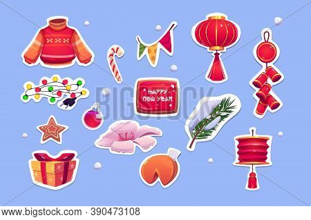 Chinese New Year Stickers With Red Lantern, Sweater, Pine Tree And Bells. Vector Cartoon Icons Set O