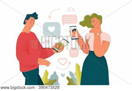 Young Beauty Man And Woman Loking For A Couple In Dating Mobile App. Online Dating Creative Concepts