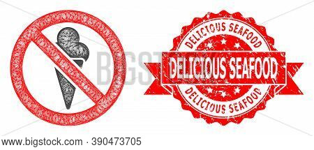 Net Forbidden Ice-cream Icon, And Delicious Seafood Textured Ribbon Stamp Seal. Red Stamp Seal Inclu