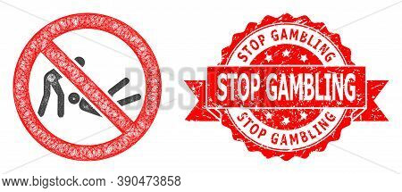 Net Forbidden Judo Struggle Icon, And Stop Gambling Corroded Ribbon Seal Print. Red Stamp Seal Inclu