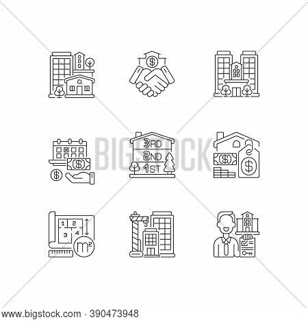 Realty Pixel Perfect Linear Icons Set. Property Types. Business Deal. House Mortgage. Home For Sale.