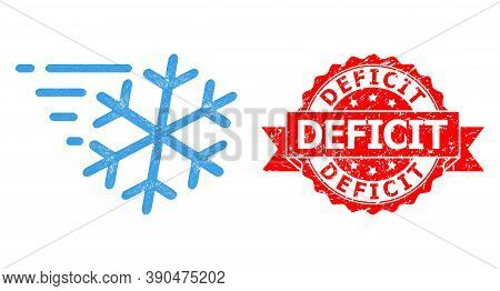 Network Frost Wind Icon, And Deficit Scratched Ribbon Stamp Seal. Red Stamp Seal Includes Deficit Ti
