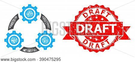 Network Gear Planetary Transmission Icon, And Draft Rubber Ribbon Stamp Seal. Red Stamp Includes Dra