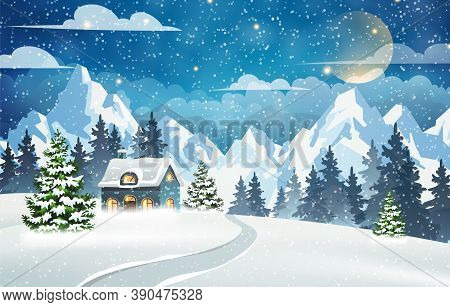 House In A Snowy Forest With Mountains In The Background. Winter Night Scene. Christmas Holidays Vec