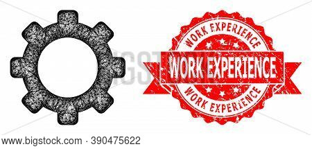 Network Gear Icon, And Work Experience Dirty Ribbon Stamp Seal. Red Stamp Seal Contains Work Experie