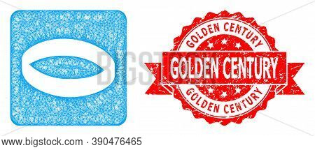 Wire Frame Gold Ring Icon, And Golden Century Textured Ribbon Seal Print. Red Seal Includes Golden C