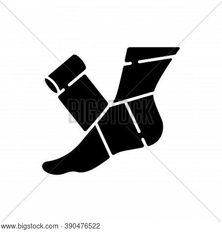 Elastic Bandage Black Glyph Icon. Suffer From Injury. Hurt Foot. Join Trauma Treatment. Medical Equi