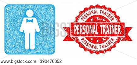 Wire Frame Groom Icon, And Personal Trainer Grunge Ribbon Stamp Seal. Red Seal Contains Personal Tra