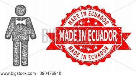 Network Groom Icon, And Made In Ecuador Grunge Ribbon Stamp Seal. Red Stamp Seal Includes Made In Ec