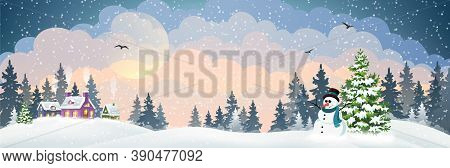 Winter Village Background With Snow Covered Houses, Pine Forest And Snowman With Hat And Scarf. Chri