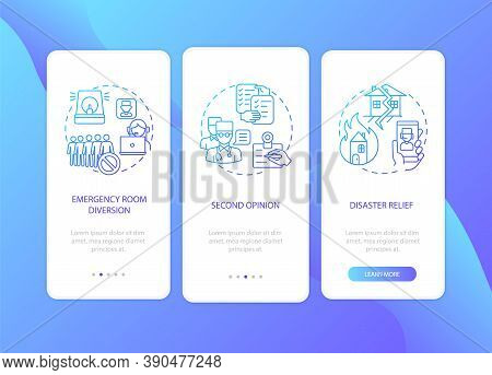 Telemedicine Pros Onboarding Mobile App Page Screen With Concepts. Connect With Doctor Using Interne
